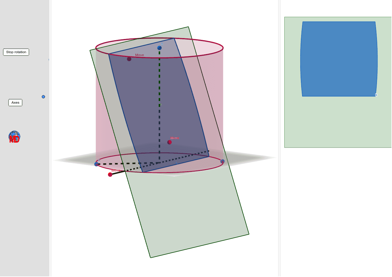 Red points for changing the intersection plane and blue points for the cylinder  Press Enter to start activity