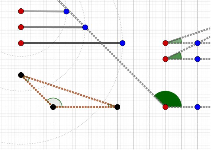 [과제1] 다음은 주어진 갈색 삼각형의 세 변과 세 각입니다. 각각의 기본도형을 삼각형의 알맞은 위치에 포개어 보세요. 활동을 시작하려면 엔터키를 누르세요.