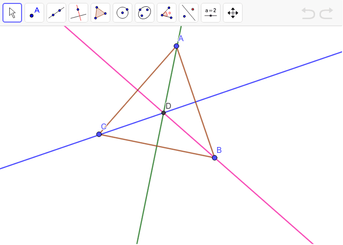 The perpendicular bisector for each side of triangle ABC is given. Move the vertices to make different triangles. Press Enter to start activity