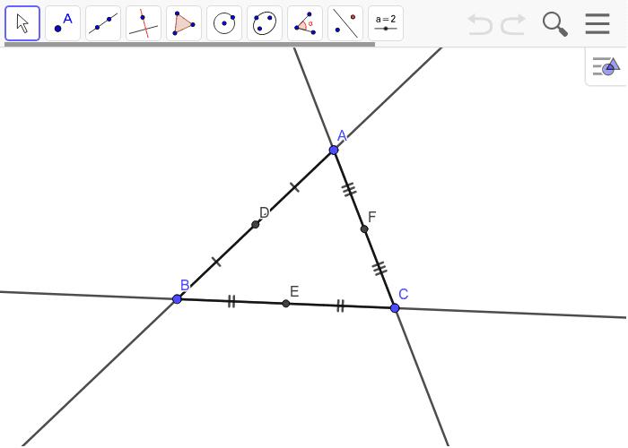 D,E,Fは各辺の中点。△DEFはどんな三角形か? ワークシートを始めるにはEnter キーを押してください。
