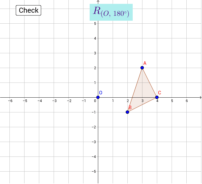 Drag the points to the image of triangle ABC after a rotation of 180° about the origin. Press Enter to start activity