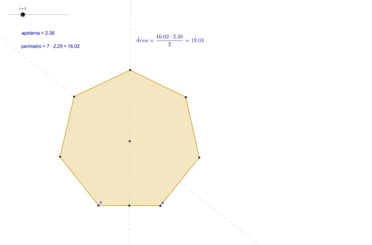 Puedes seleccionar el número de lados del polígono con el deslizador de arriba, y modificar las dimensiones moviendo los puntos A y B Presiona Intro para comenzar la actividad
