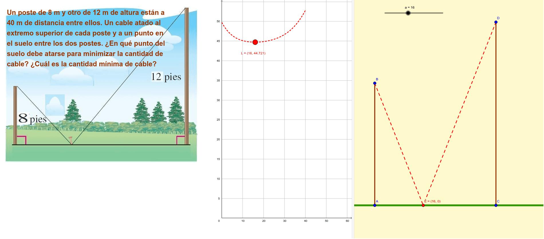 Antes de resolver el problema, analice la siguiente aplicación dinámica ... El problema plantea la situación de utilizar la menor cantidad de cables Presiona Intro para comenzar la actividad