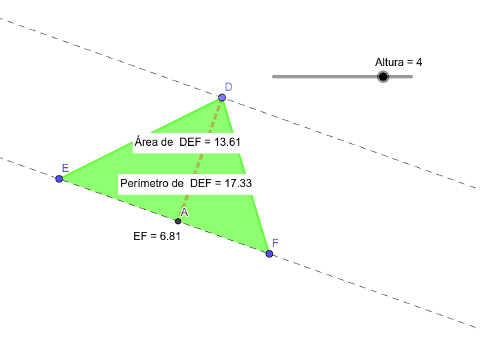 Área y perímetro de un triangulo entre dos paralelas. Presiona Intro para comenzar la actividad