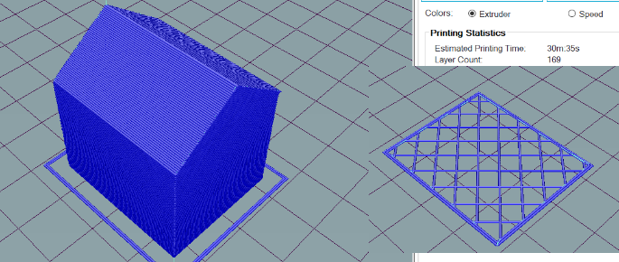 On the right side is one layer of 169 layers of the 3D model on the left. You can see that the outer line is 2 lines thick and there is a crossing layer structure in the center. This structure is a filling that gives the print stability from the inside.