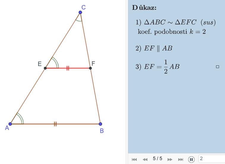 Důkaz 4: Přes podobné trojúhelníky dle věty SUS Press Enter to start activity