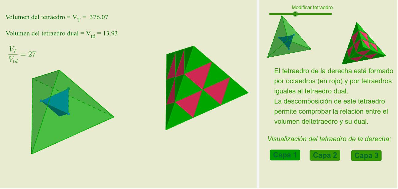 El volumen del tetraedro es 27 veces el del tetraedro dual Presiona Intro para comenzar la actividad