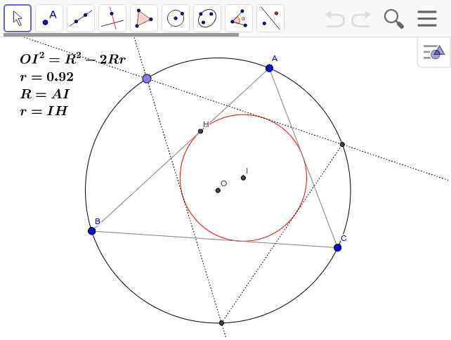 2円OとIがあって、その半径をR、rとするとき、OI^2=R^2-2Rrならば、円Oに内接して円Iに外接する三角形が無数に存在する。 ワークシートを始めるにはEnter キーを押してください。
