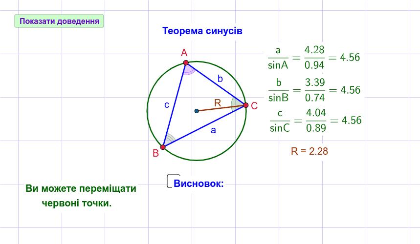 Теорема синусів Натисніть Enter, щоб розпочати розробку