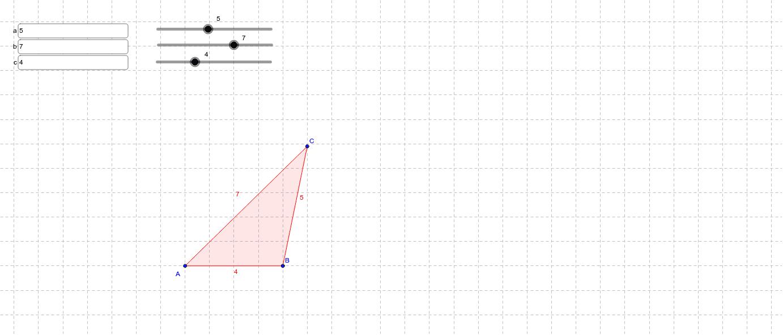 Verzin maten voor een driehoek tussen 1 cm en 10 cm. Teken de driehoek. Pas de waarden van a, b en c aan en controleer of je tekening goed is. Klik op Enter om de activiteit te starten