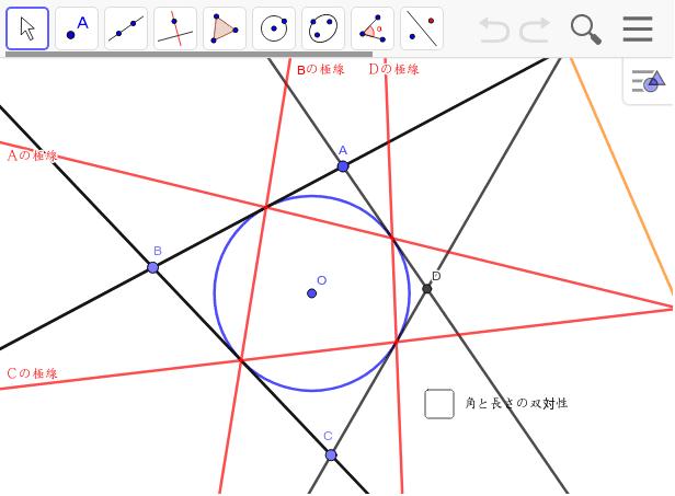 外接四角形の極線で内接四角形ができる。この二つの図はいろいろなことを指し示す。作図して試してみよう。 ワークシートを始めるにはEnter キーを押してください。