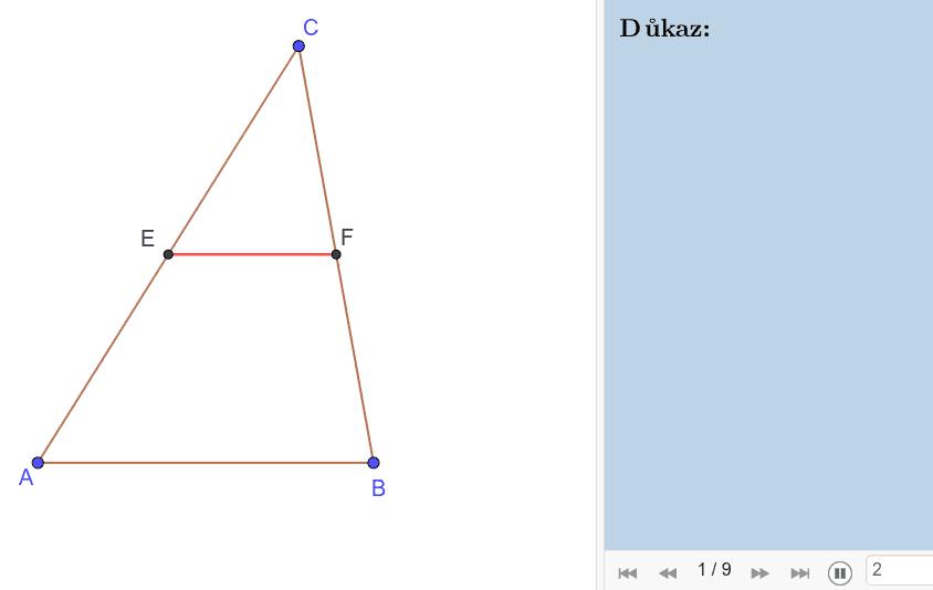 Důkaz 3: Přes shodnost trojúhelníků dle věty USU Press Enter to start activity