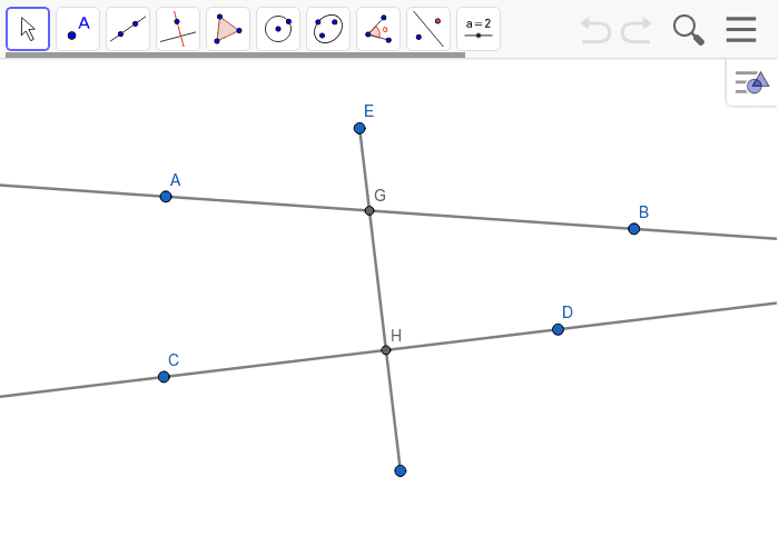 Do the relationships you found above still hold for a transversal going through 2 non-parallel lines? Press Enter to start activity