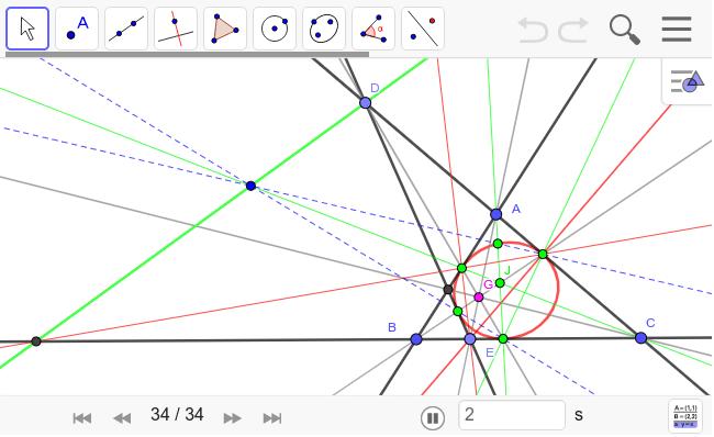 極を二つ使う方法。こちらの方が簡単。ピンクの点が四角形の極。緑の線は緑の点Jの極線。Gの極線は? ワークシートを始めるにはEnter キーを押してください。
