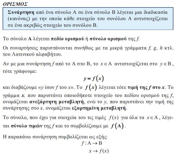 Ορισμός συνάρτησης  & δομικά της στοιχεία