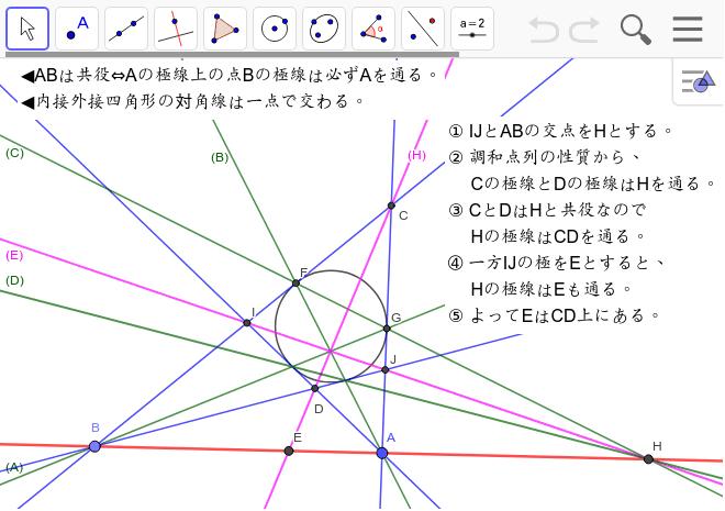 対角線がHやEの極線になることの証明です。これは「共役」という関係から出てきます。 ワークシートを始めるにはEnter キーを押してください。