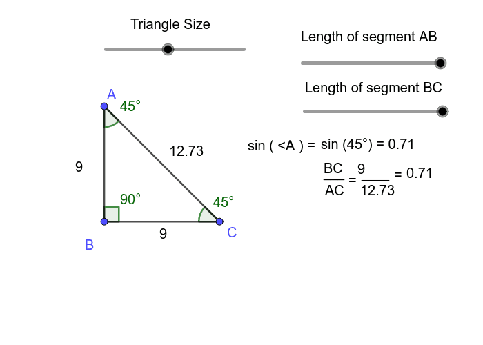 Move the sliders around to change the side lengths and the overall size of the right triangle.  Press Enter to start activity