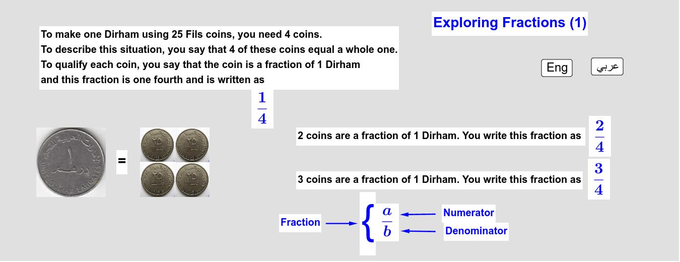 Exploring Fractions - 1     استكشاف الكسور - 1 Press Enter to start activity