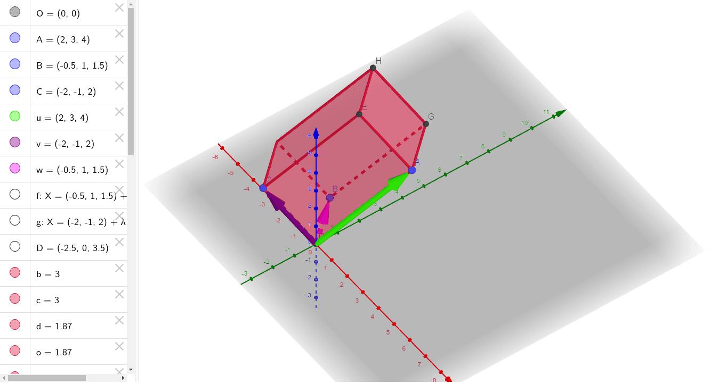 Proveri da li je zaista zapremina paralelepipeda 11? Računski, za vektore sa koordinatama u=(2,3,4), v=(-2,-1,2) i w=(-0.5,1,1.5) Press Enter to start activity