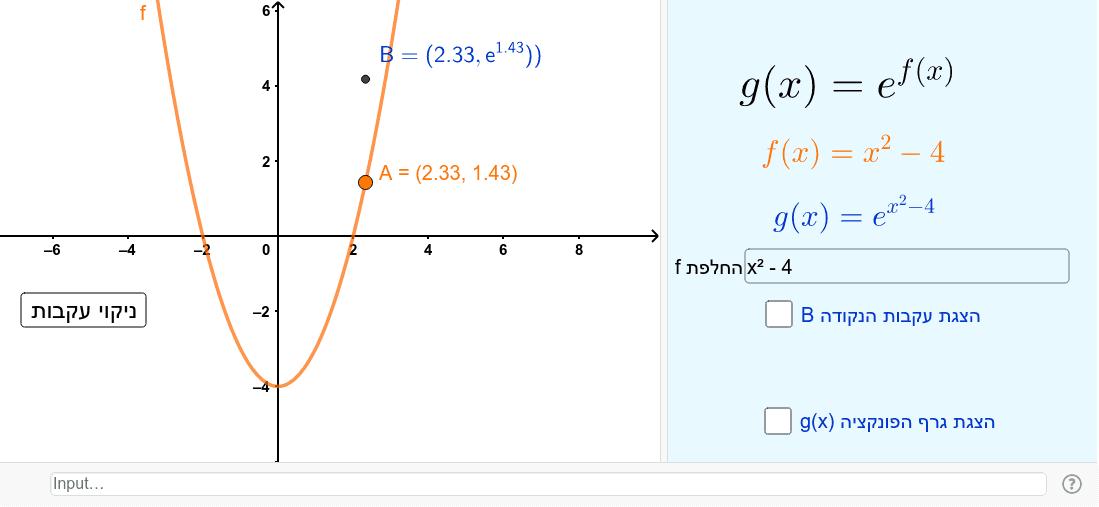 e^f(x) לפני הכל, שערו איך נראה גרף הפונקציה Press Enter to start activity