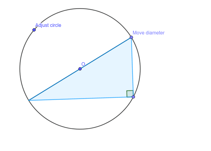 The angle in a semicircle is 90°. Press Enter to start activity