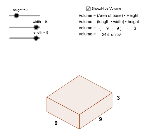 Volume of rectangular prism = number of cubes in one layer × number of layers Press Enter to start activity