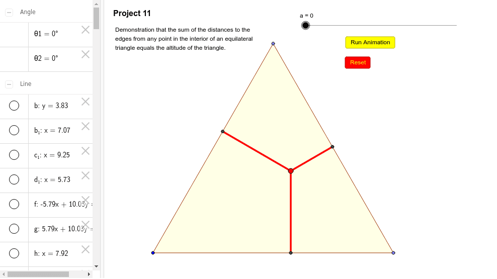 Point in an Equilateral Triangle Press Enter to start activity