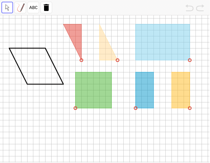 Find the area of the parallelogram on the left. Show and explain your reasoning. Source: Illustrative Mathematics & Open Up Resources 6-8 Math Curriculum Press Enter to start activity