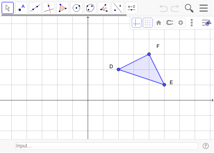 5. Translate the triangle using the rule (x,y) -> (x-4,y) and then reflect it over the line y=-1. (4 pts) Press Enter to start activity