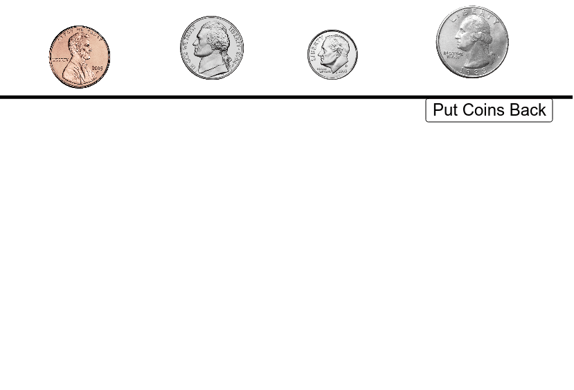 Markus paid $1.00 for a cheap souvenir that was only worth $0.16. What would his change be? Illustrate below by dragging coins below the line.  Press Enter to start activity