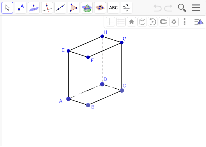 10. Istakni na kvadru tri pravca, dva pravca koja su paralelna istom bojom, a treći koji je mimoilazan na prethodna dva drugom bojom. Pritisnite Enter za pokretanje.