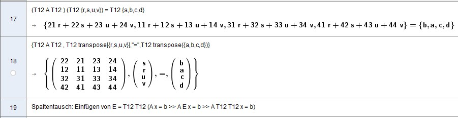 Zeilen- & Spaltentausch: T12 A T12 T12 x = T12 b