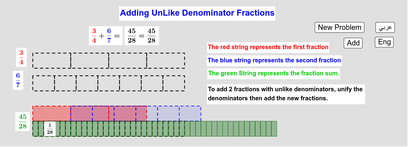 Adding UnLike Denominators Fractions        جمع الكسور من مقامات مُختلفة Press Enter to start activity