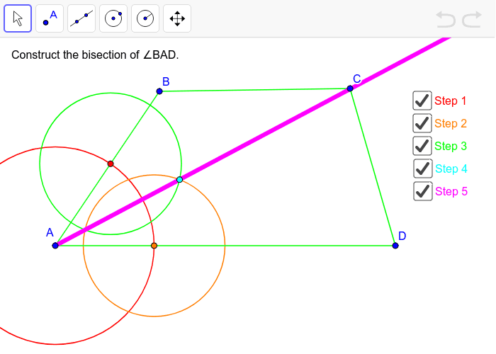 Construct the angle bisector for angle BAD. Press Enter to start activity