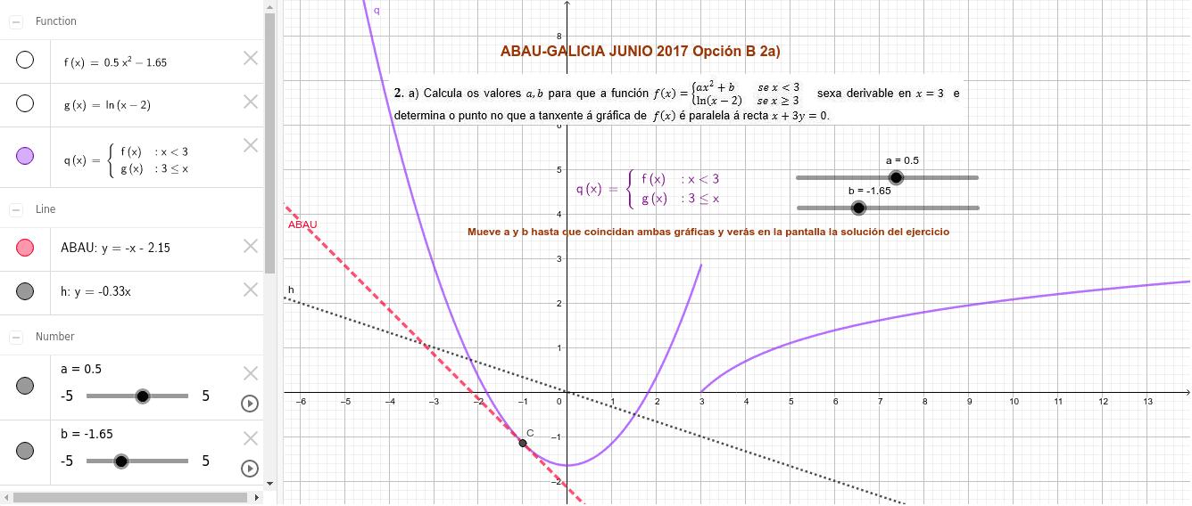 Problema de la prueba ABAU 2017 GALICIA Presiona Intro para comenzar la actividad