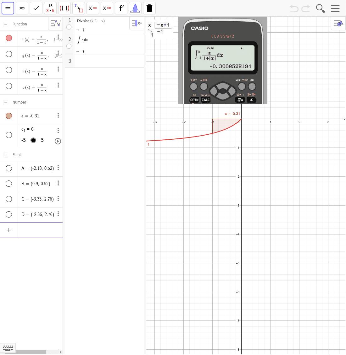 Calcula la integral definida de f(x)=1/(1+|x|) entre -1 y 0 Presiona Intro para comenzar la actividad