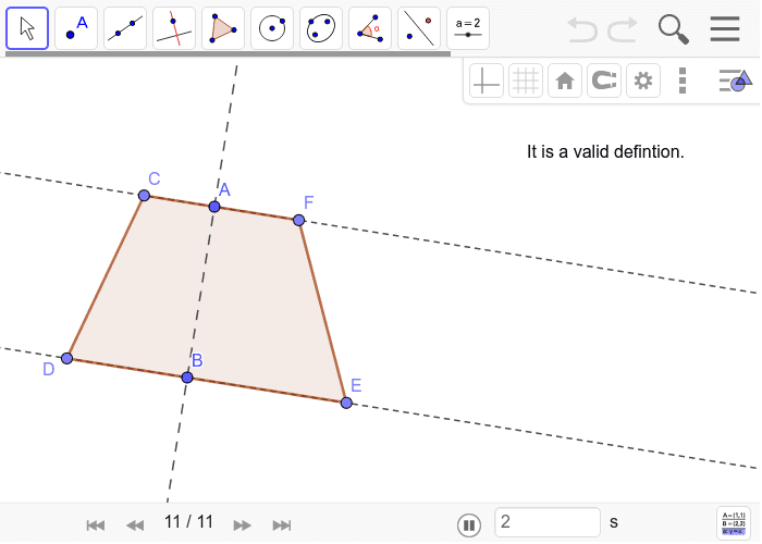 Solution to Trapezoid Construction 3: Press Enter to start activity