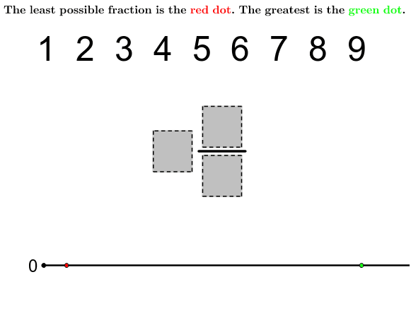 """Use the digits (one per box) to make a mixed number fraction.  Try to make it as big or as small as possible.  Or try to find some equivalent fractions.  A """"Check"""" button will appear once one digit is in each box. Press Enter to start activity"""