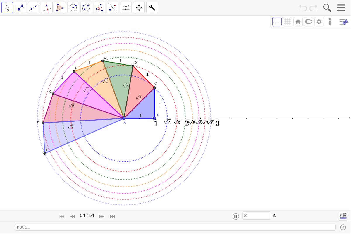Şekil 48. Theoderus Spirali İnşaası Etkinliği başlatmak için Enter'a basın