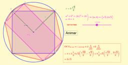 Octógono determinado por cuadrado y rectángulo inscritos
