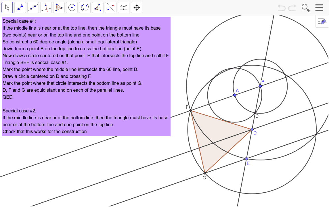 Construct an equilateral triangle with vertices on three parallel lines Press Enter to start activity