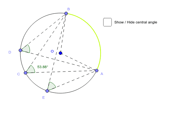Arc capable and inscribed angle Press Enter to start activity