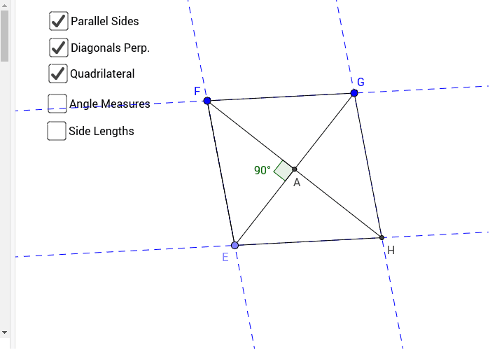 Figure #2: Parallelogram with Diagonals Perpendicular Press Enter to start activity