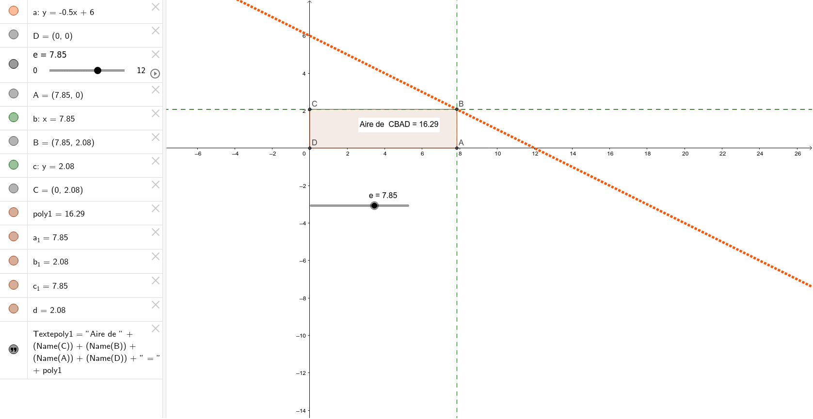 """Recherche de l'aire maximum du rectangle. Tapez """"Entrée"""" pour démarrer l'activité"""
