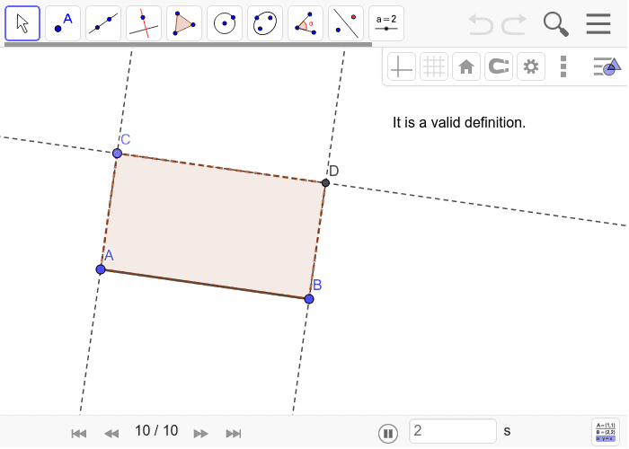 Solution to Rectangle Construction 4: Press Enter to start activity