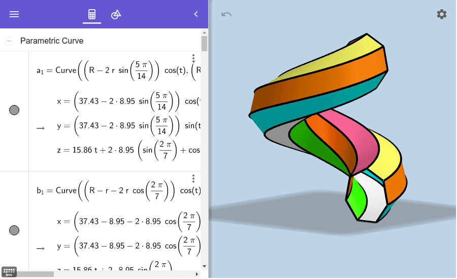 Interact with the 4 sliders you see in the Algebra view on the left. What does each one do? Press Enter to start activity