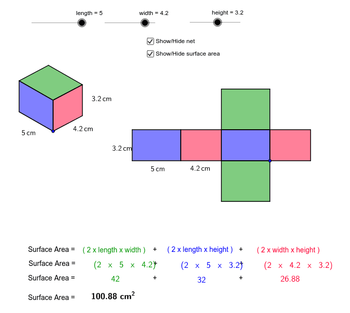surface area and nets of a ractangular prism Press Enter to start activity