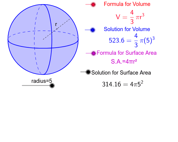 Spheres surface area and volume Interactive Press Enter to start activity