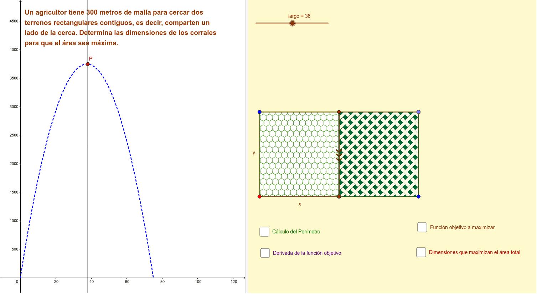 Analiza la aplicación y sus opciones antes de resolver el problema ... antes de considerar la resolución del mismo, mueve el deslizador ... Este problema trata de optimizar el material para cercar un terreno de máxima área Presiona Intro para comenzar la actividad