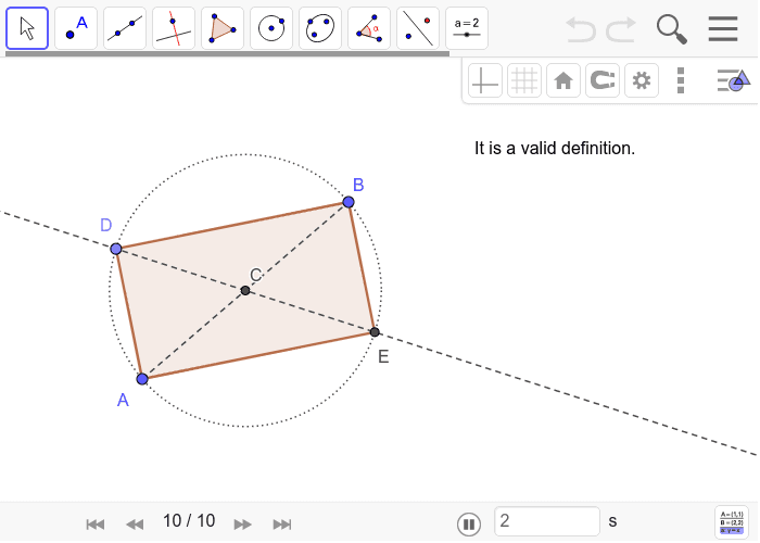 Solution to Rectangle Construction 5: Press Enter to start activity